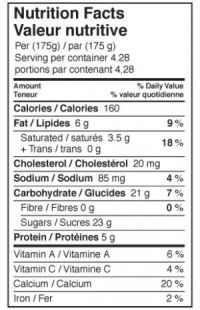 Vanilla Nutrition Table
